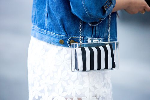 A see-through purse and a see-though flower skirt – we clearly like that.