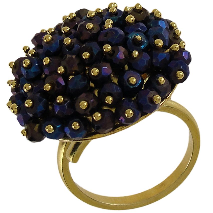 Emmanuela.gr - Handmade Jewelry - Blue Spinel Stones in Gold Plated Sterling Silver Ring. Adjustable size.