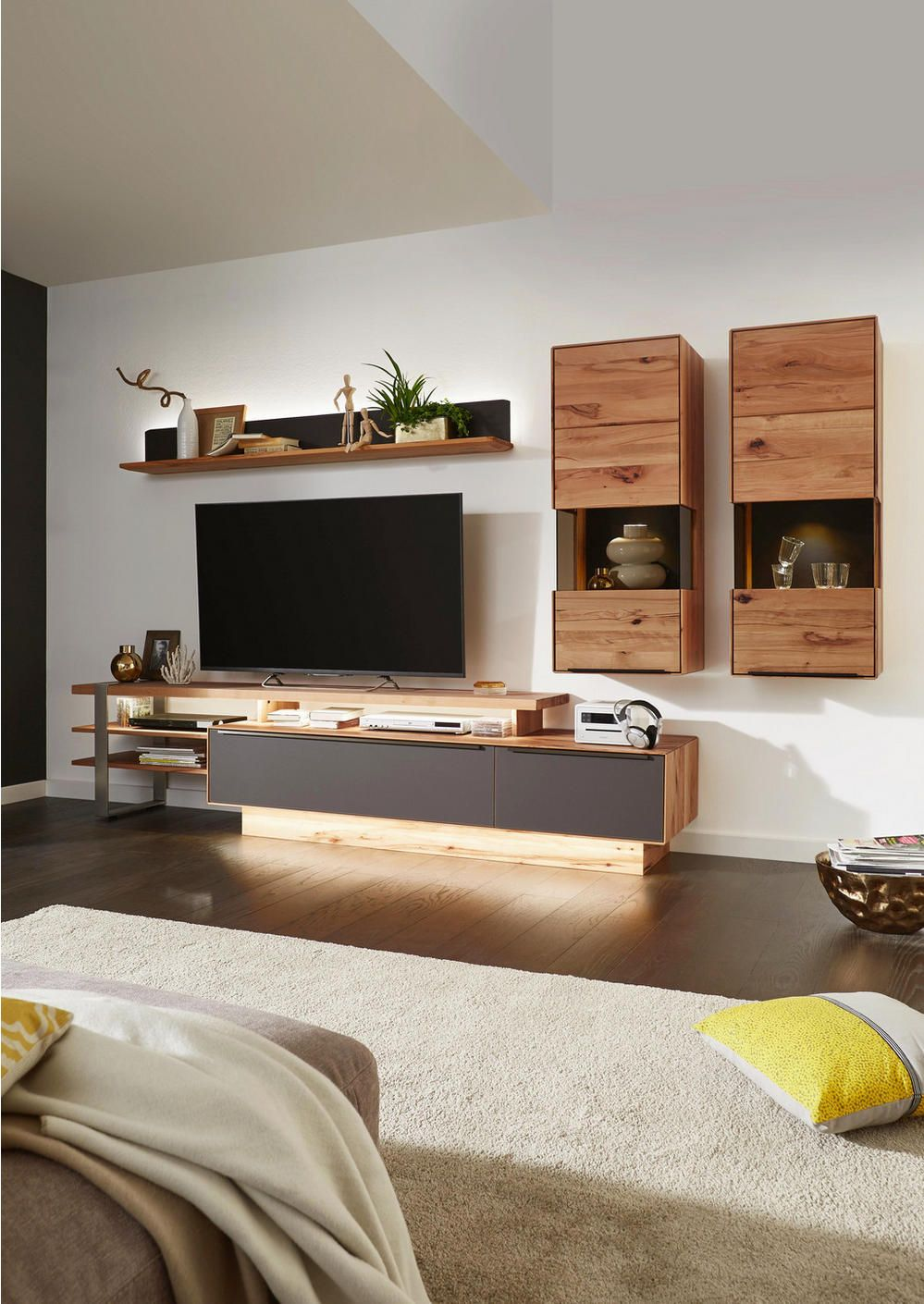 Wohnwand Buche Massiv Valnatura Online Bestellen In 2020 Living Room Wall Units Living Room Tv Wall Living Room Tv Unit Designs