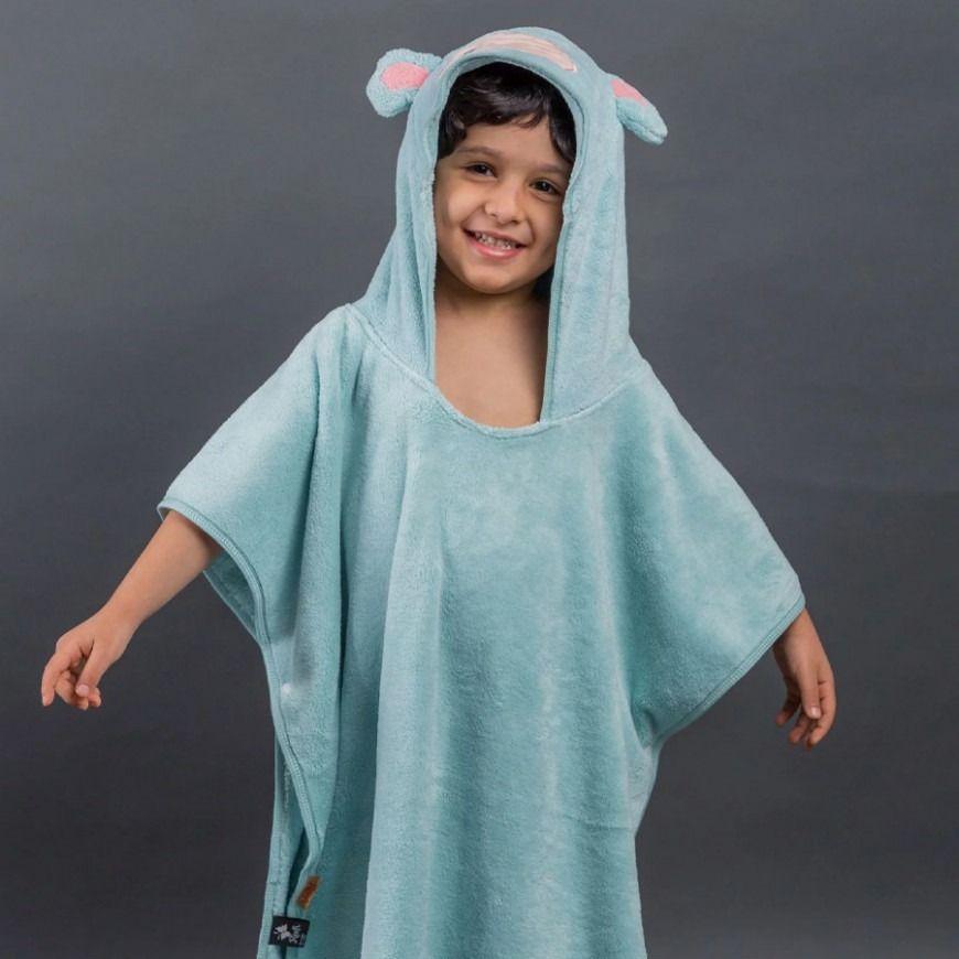 بانشو منشفة استحمام أطفال مخملي تركواز عمر 3 5 سنوات Fashion