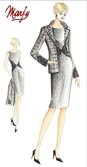 Marfy 1066 (jacket) and 1067 (dress) | Alta Costura | Pinterest ...