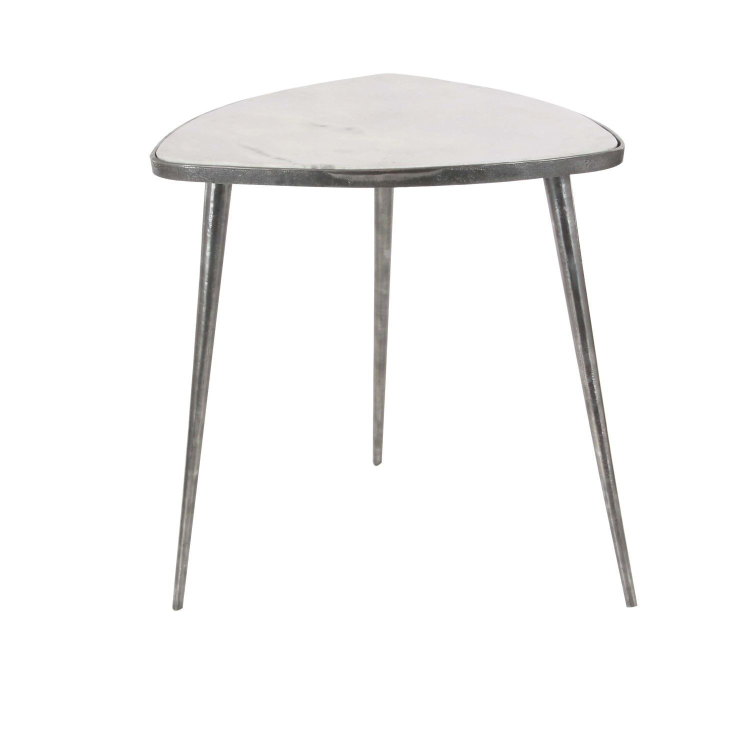 Studio 350 Aluminum Marble Accent Table 20 Inches Wide 21 High Grey