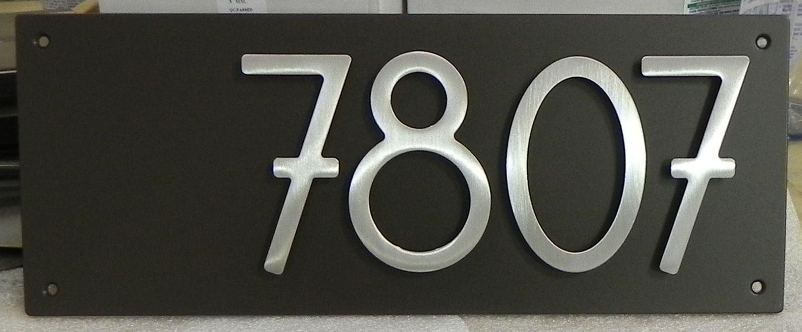 4digit modern address plaque with dark bronze plaque and brushed