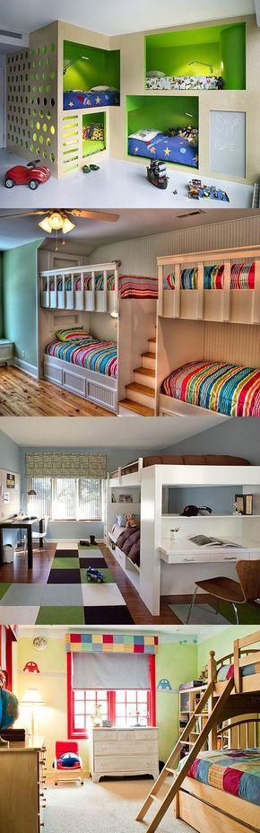 Mi piaccono le nicchie colorate dove dormire. Lavagna in basso dove pasticciare.