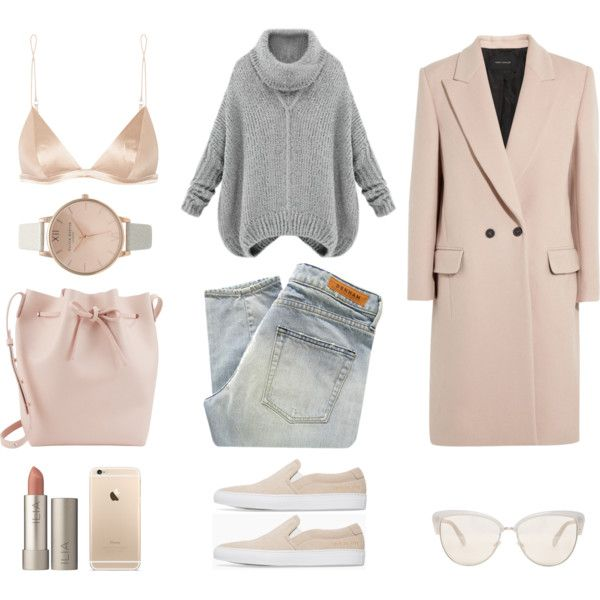 Denim + Nude by fashionlandscape on Polyvore featuring Mode, Cédric Charlier, Denham, T By Alexander Wang, Common Projects, Mansur Gavriel, Topshop, Oliver Peoples and Ilia