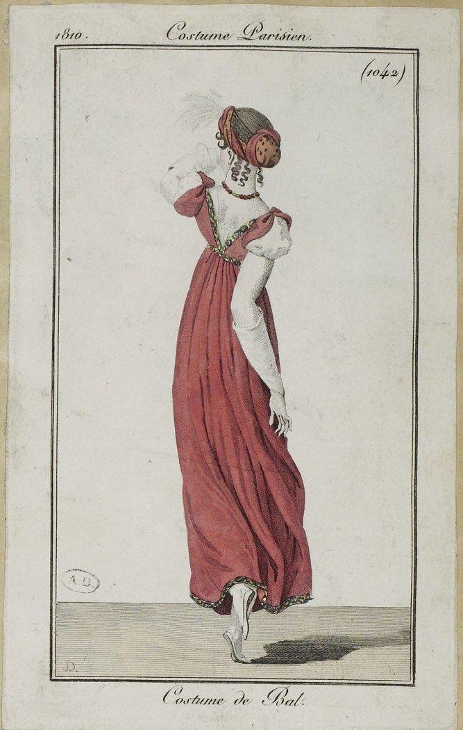 costume parisien 1810 from the biblioth que des arts d coratifs via regency gowns. Black Bedroom Furniture Sets. Home Design Ideas