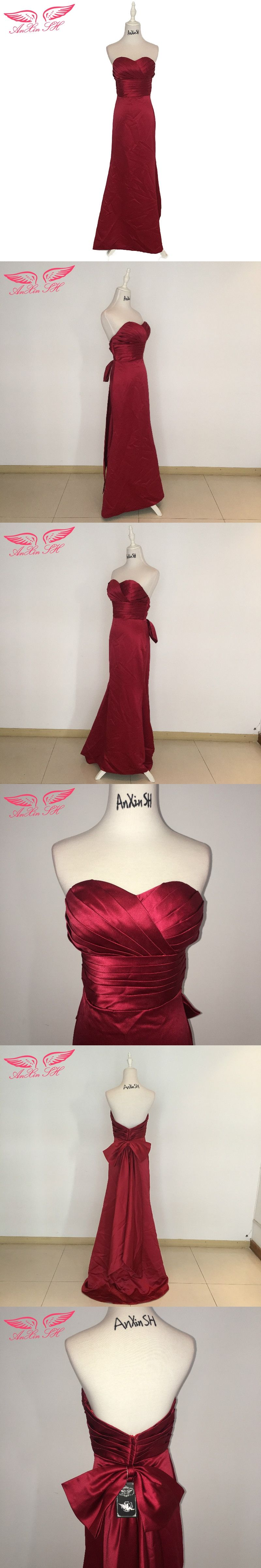 Anxin sh wine red princess bow evening dress satin vintage strapless