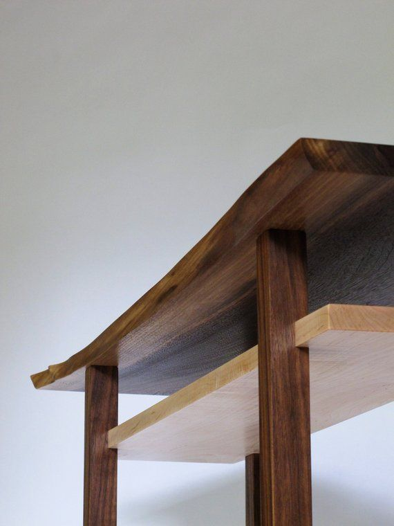 Walnut Console Table with Live Edge Table Top: Narrow Table ...