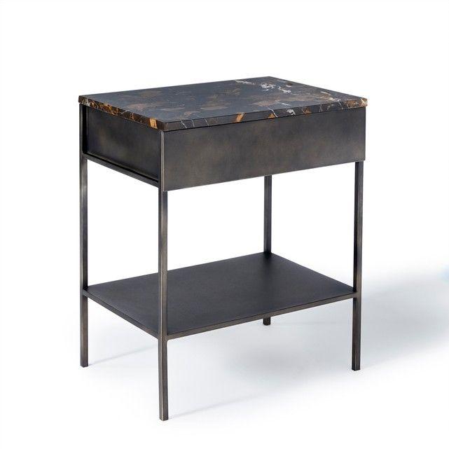Side Table Metaal.Afbeelding Nachttafel Met Plateau In Marber En Metaal