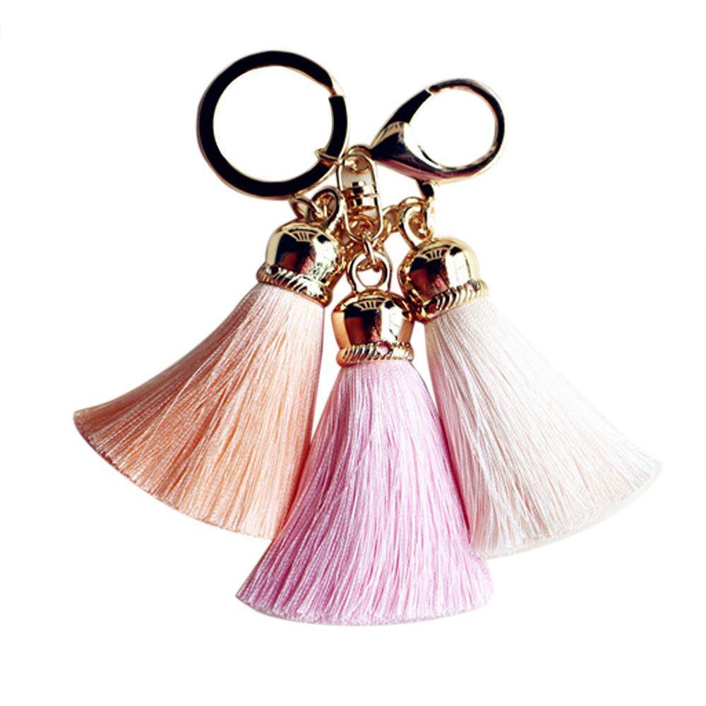 7987aae6491c7 Best Deal New Fashion Cute Ice Silk Colourful Tassel Car Keychain Handbag  Key Ring Gift 1PC