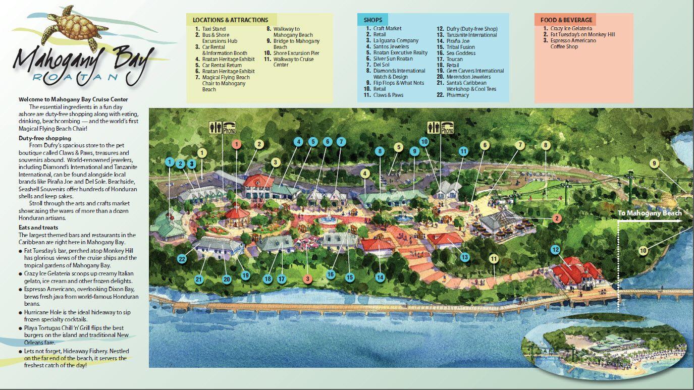 Mahogany Bay Cruise Center Map Mahogany Bay Isla Roatan