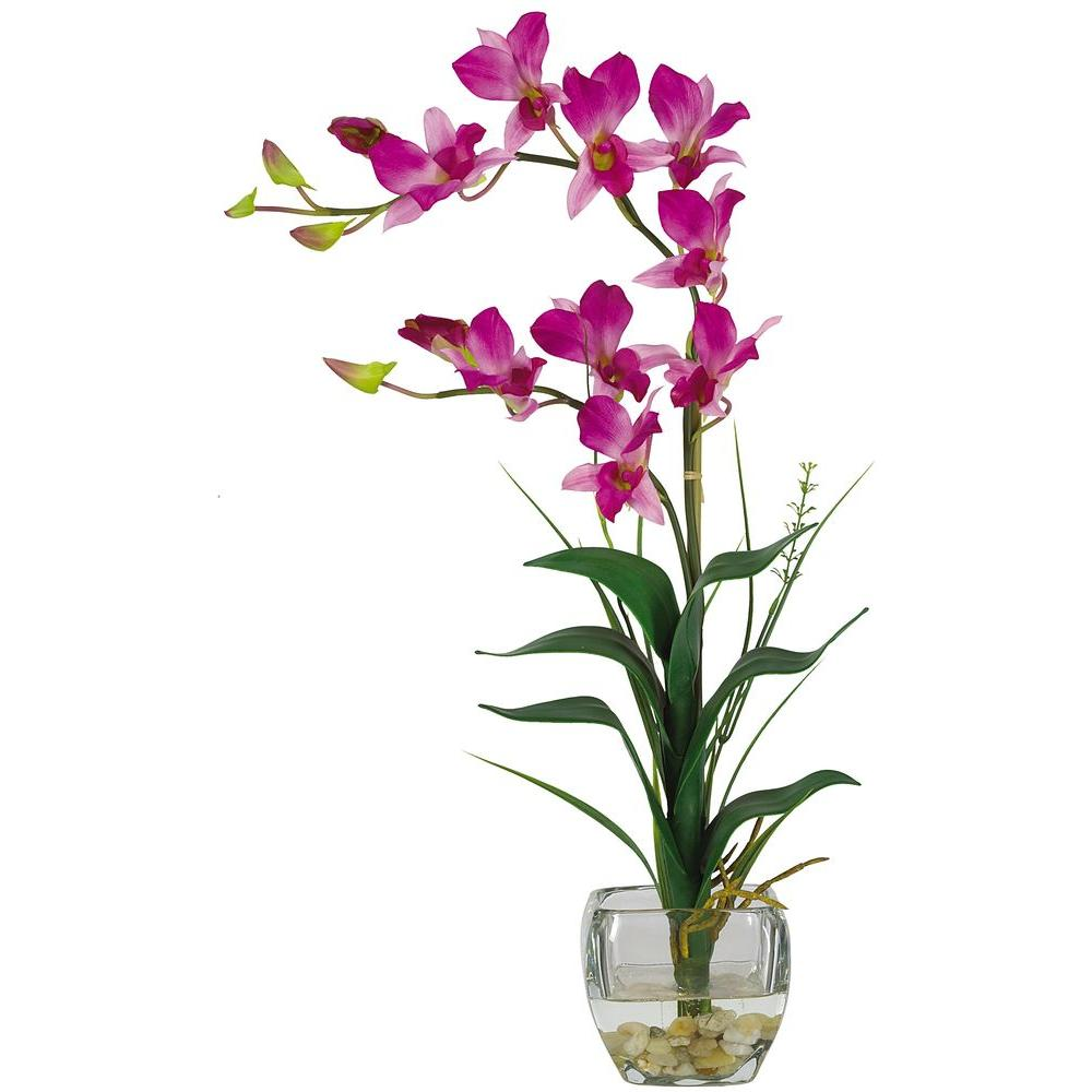 Nearly Natural 22 In Purple Dendrobium Silk Orchid Flower Arrangement 1135 Pp The Home Depot In 2020 Flower Vase Arrangements Orchid Flower Arrangements Artificial Flower Arrangements