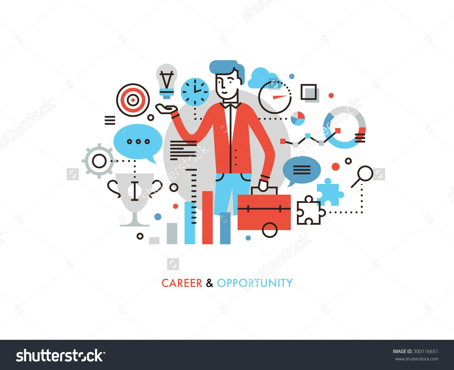Thin line flat design of business leader with success idea, career opportunity for leadership development, marketing strategy winner. Modern vector illustration concept, isolated on white background.