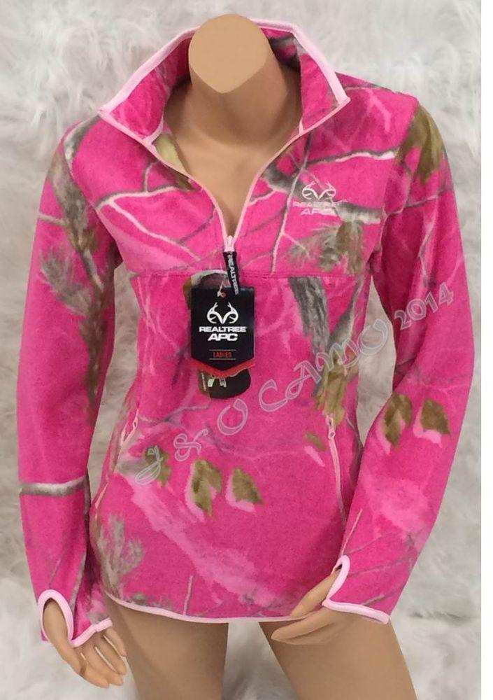 5f3613567f40 Women s Realtree Extra Soft PINK Camo 1 2 Zip Micro Fleece Jacket S M L XL   Realtree  BasicJacket
