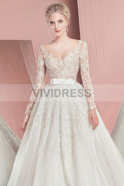 Princess Ivory Ball Gown V-neck Court Train Tulle Fabric UK Wedding ...