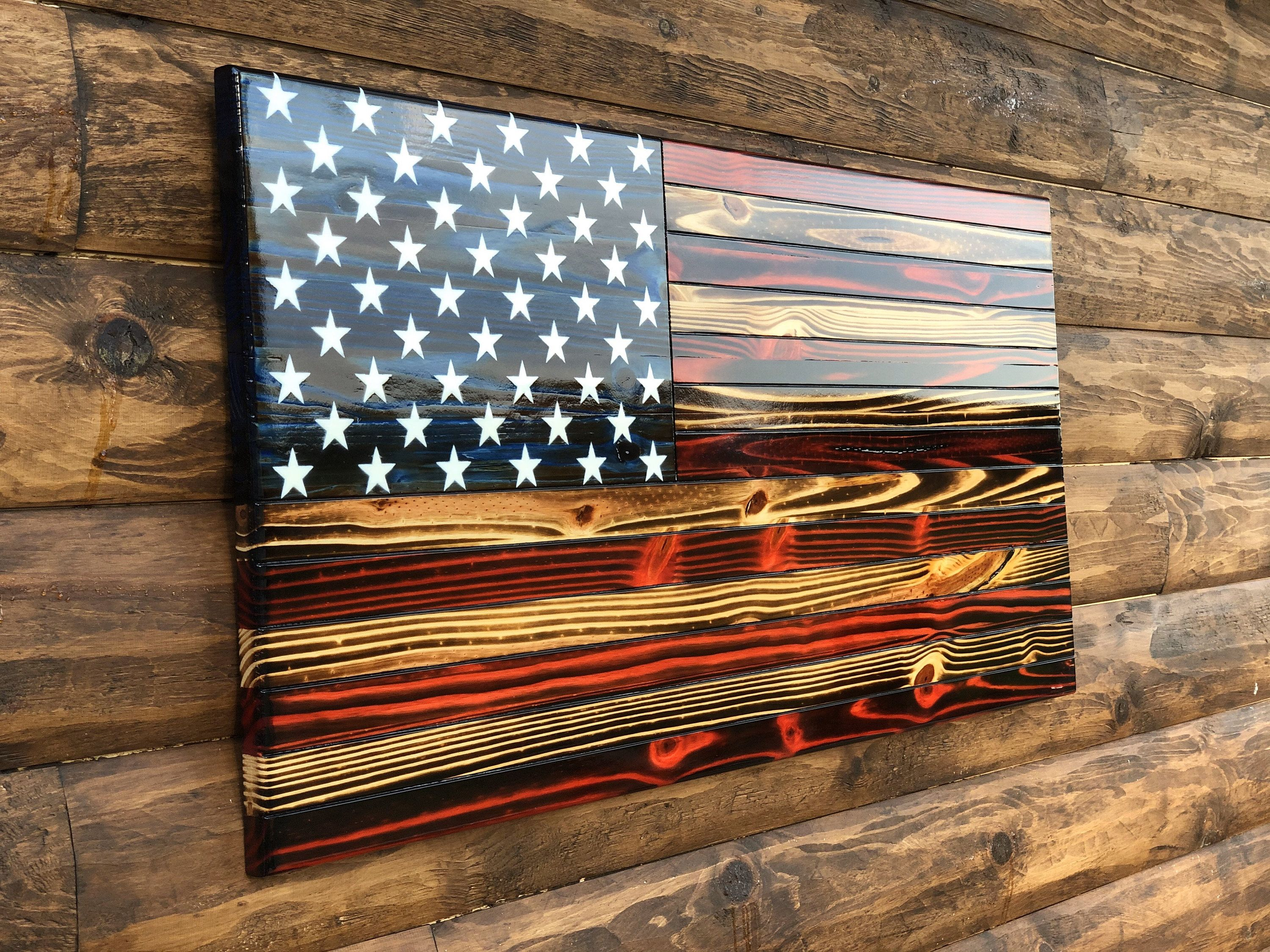 Rustic Wooden Color American Flag Wall Decor, Charred American Flag, Classic American Flag, Wall Art #americanflag