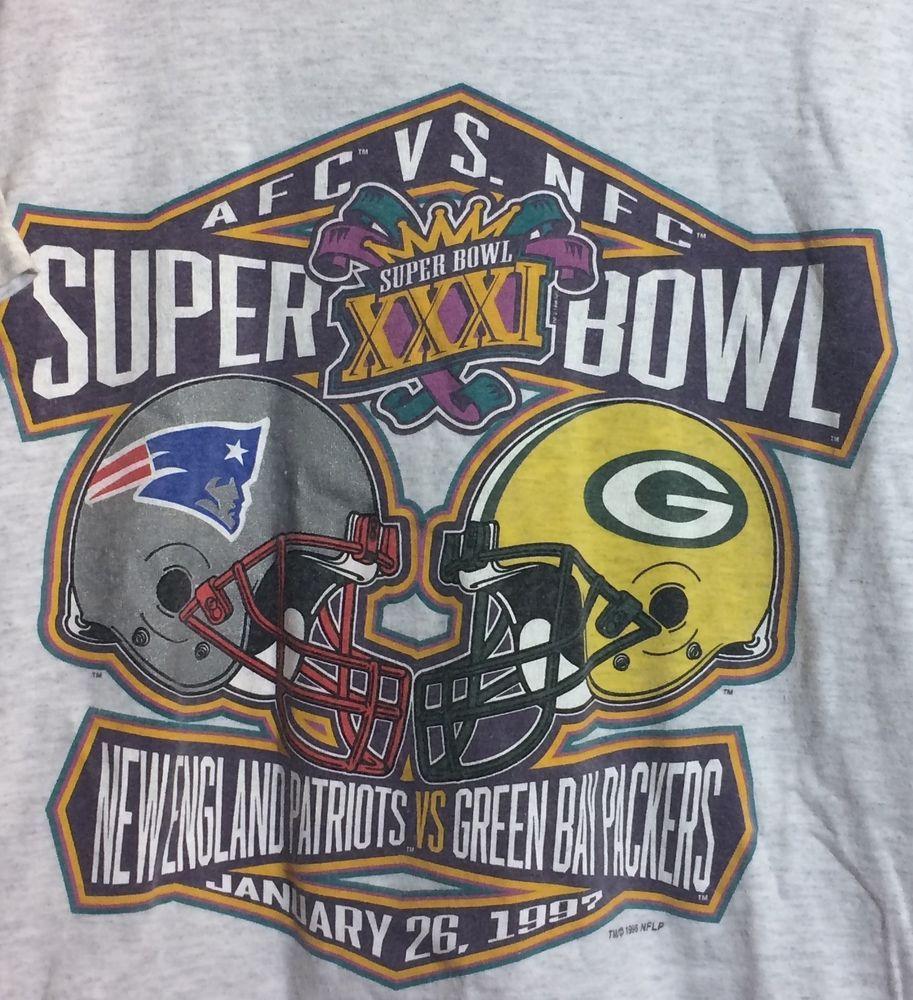0df7c3025 1997 Super Bowl XXXI New England Patriots VS Green Bay Packers  Tultex   GraphicTee