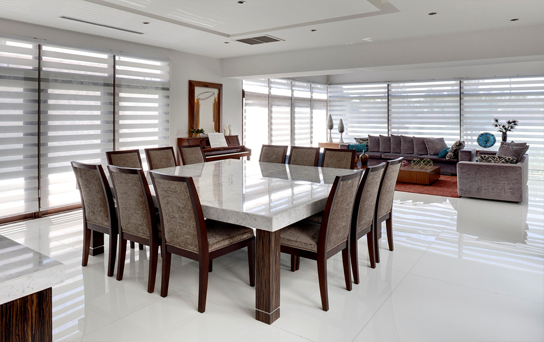 Kitchen:Large Dining Table With White Granite On Top Fabric Dining Chairs  White Ceramic Tile