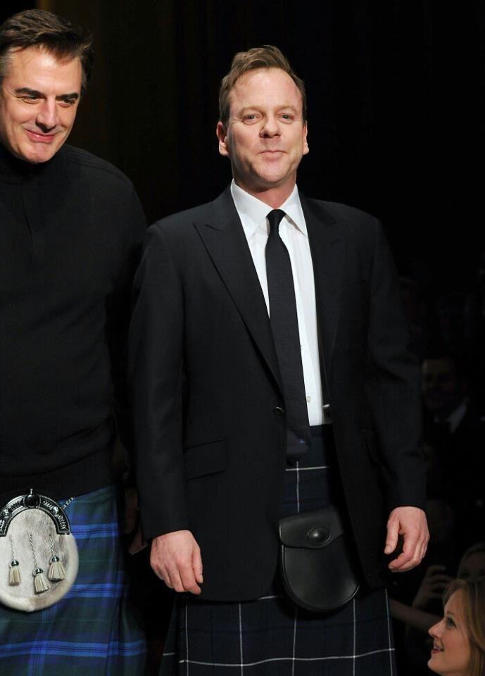 Celebrities in Kilts #Kilts #Irish #StPattysDay Kiefer Sutherland & Chris Noth