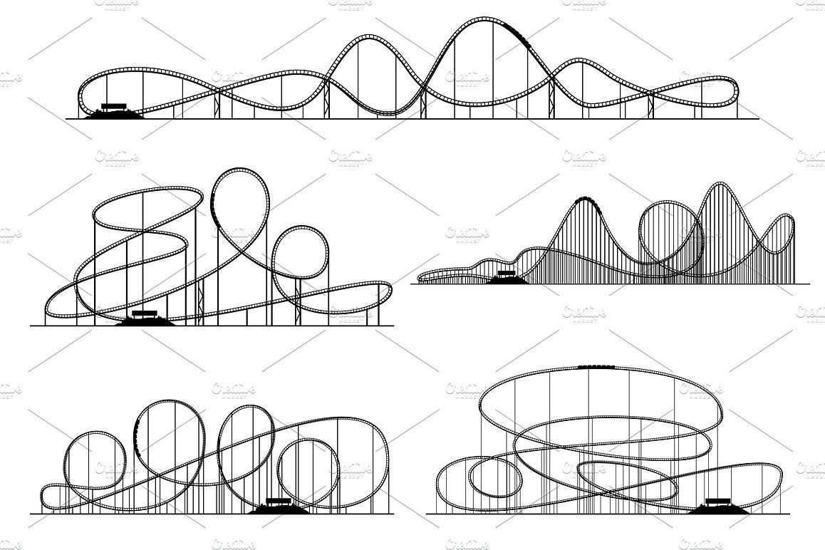 Roller Coaster Vector Silhouettes Roller Coaster Drawing Coaster Art Roller Coaster