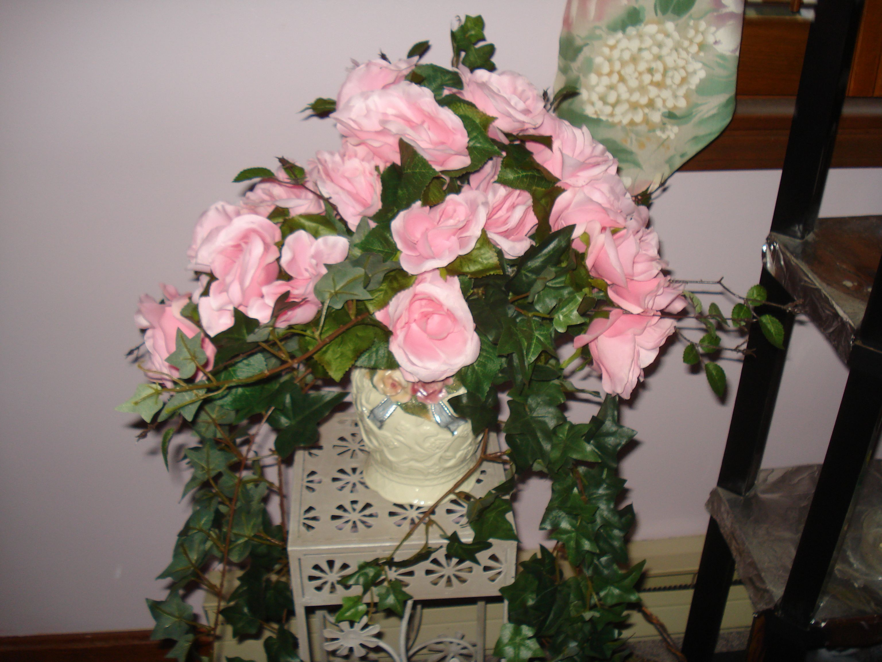 Silk Pink Roses With Silk Ivy In A Pink Rose Vase Floral