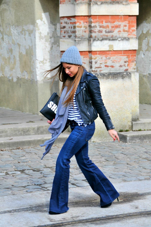 comment porter le jean flare avec une veste en cuir perfecto mariniere talons look casual et. Black Bedroom Furniture Sets. Home Design Ideas