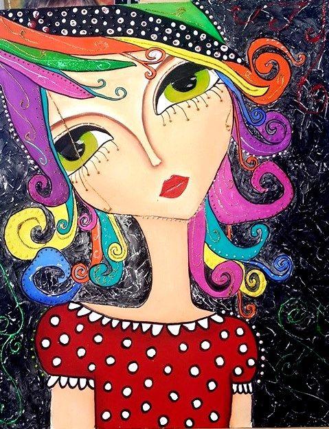 Cuadro Al Oleo De Muñeca Colorida Con Fondo Texturado Bajo El Diseño De La Artista Romina Lerda Art Face Art Whimsical Art