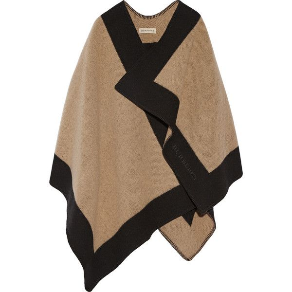 Burberry Shoes & Accessories Two-tone wool and cashmere-blend cape (10.180 HRK) ❤ liked on Polyvore featuring outerwear, jackets, cape, coats, burberry, brown, wool cape, wool wrap cape, wrap cape and wrap cape coat