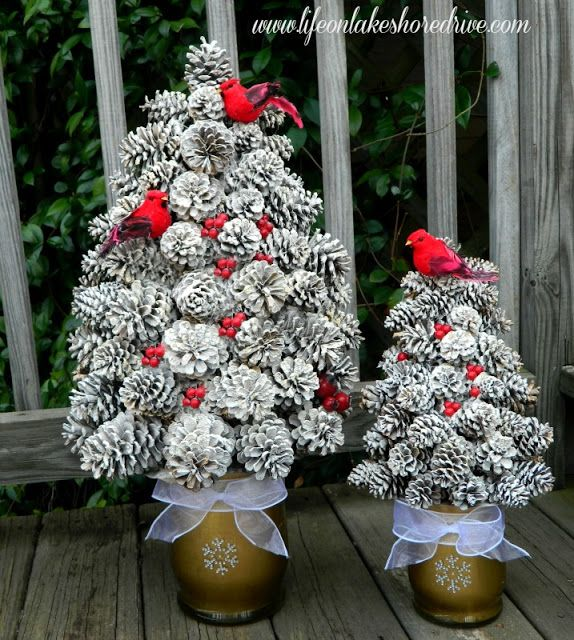 Pine cone tree with snow red berries and cardinals so cute for christmas or winter - Crafty winter decorations with pine cones ...