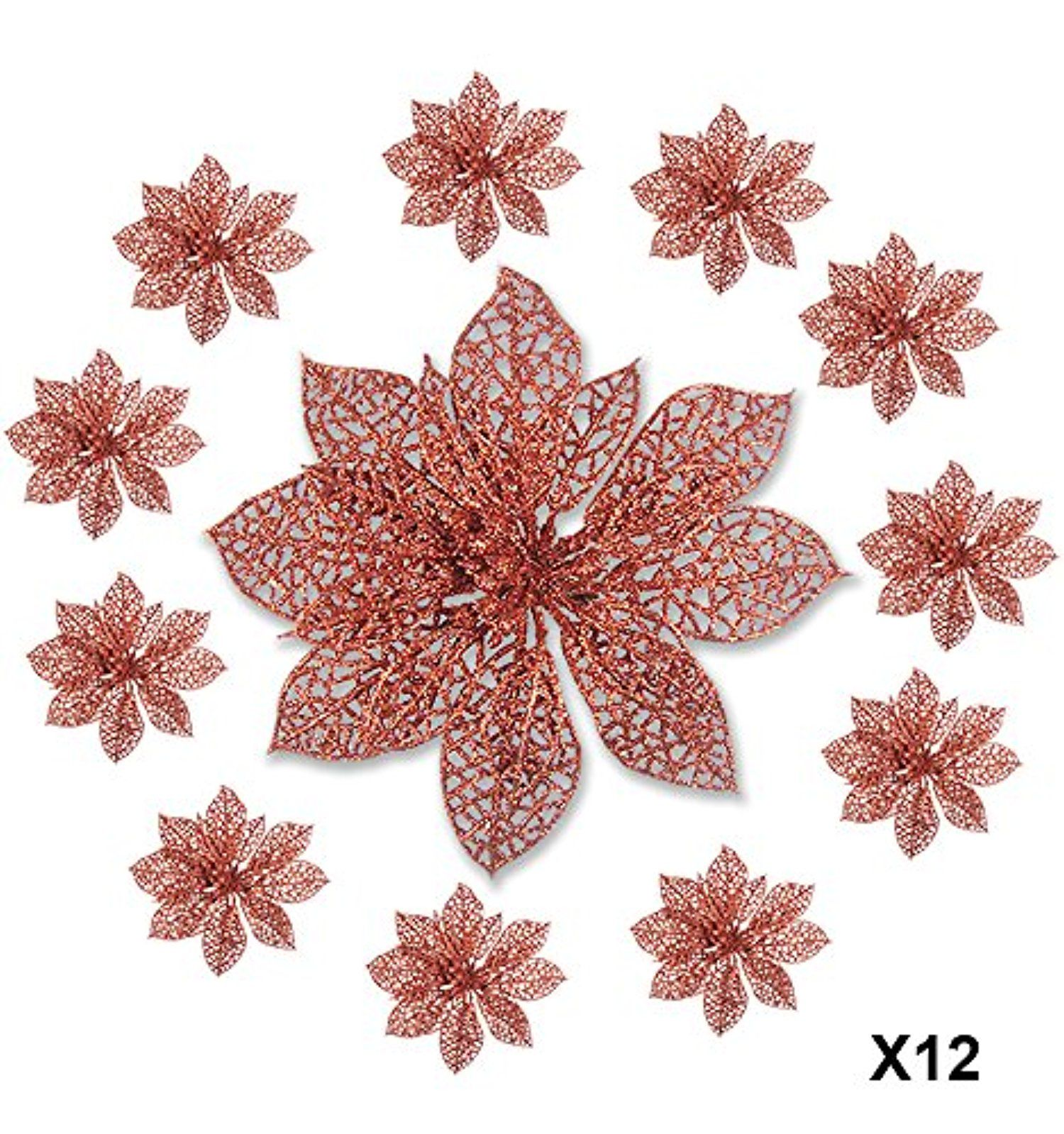 Poinsettia Clip On Ornaments Pack Of 12 Glitter Poinsettia Flowers With Metal Clip Holiday Decorations Artif Poinsettia Flower Wreath Decor Holiday Decor