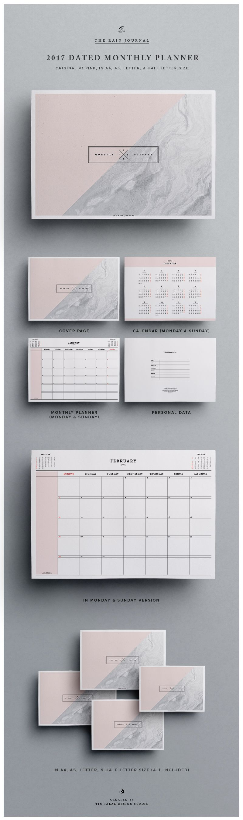 printable 2017 dated monthly planner wall planner or desk planner
