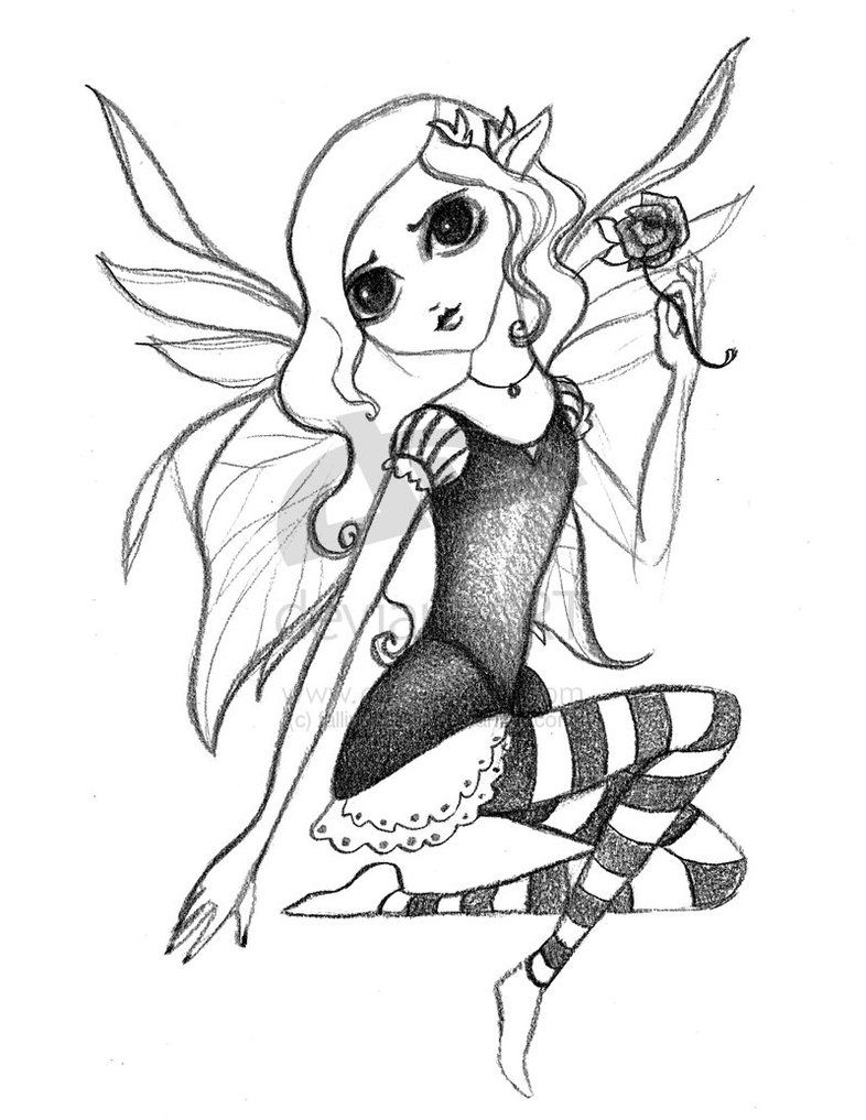 Fairy Drawings To Color | Gothic Fairy Sketch by ~fallingSarah on ...