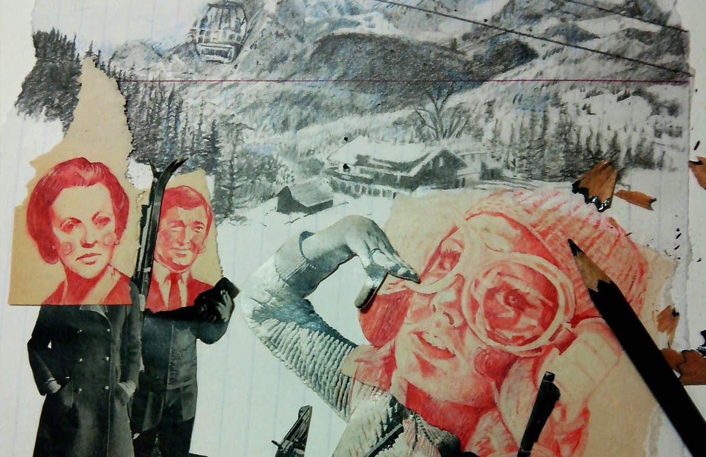 """(detalle) Relaciones familiares. (IV) """"La cazadora"""" Ilustración, técnica collage + lápiz de color. Tamaño 32x24 cm. // Puedes ver más del proceso en mi INSTAGRAM."""