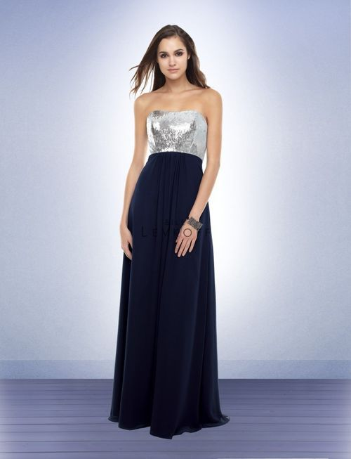 Modest Empire Strapless Floor Length Chiffon Navy Blue Silver Bridesmaid Dress Deva Dresses