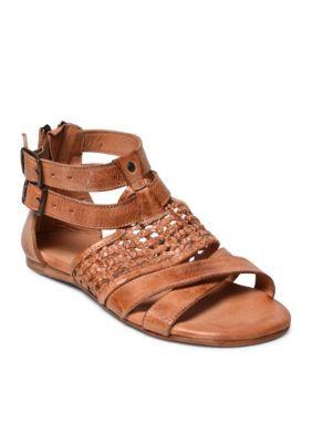 eca257c017b45 Bed Stu Cognac Caprina Woven Flat Sandal