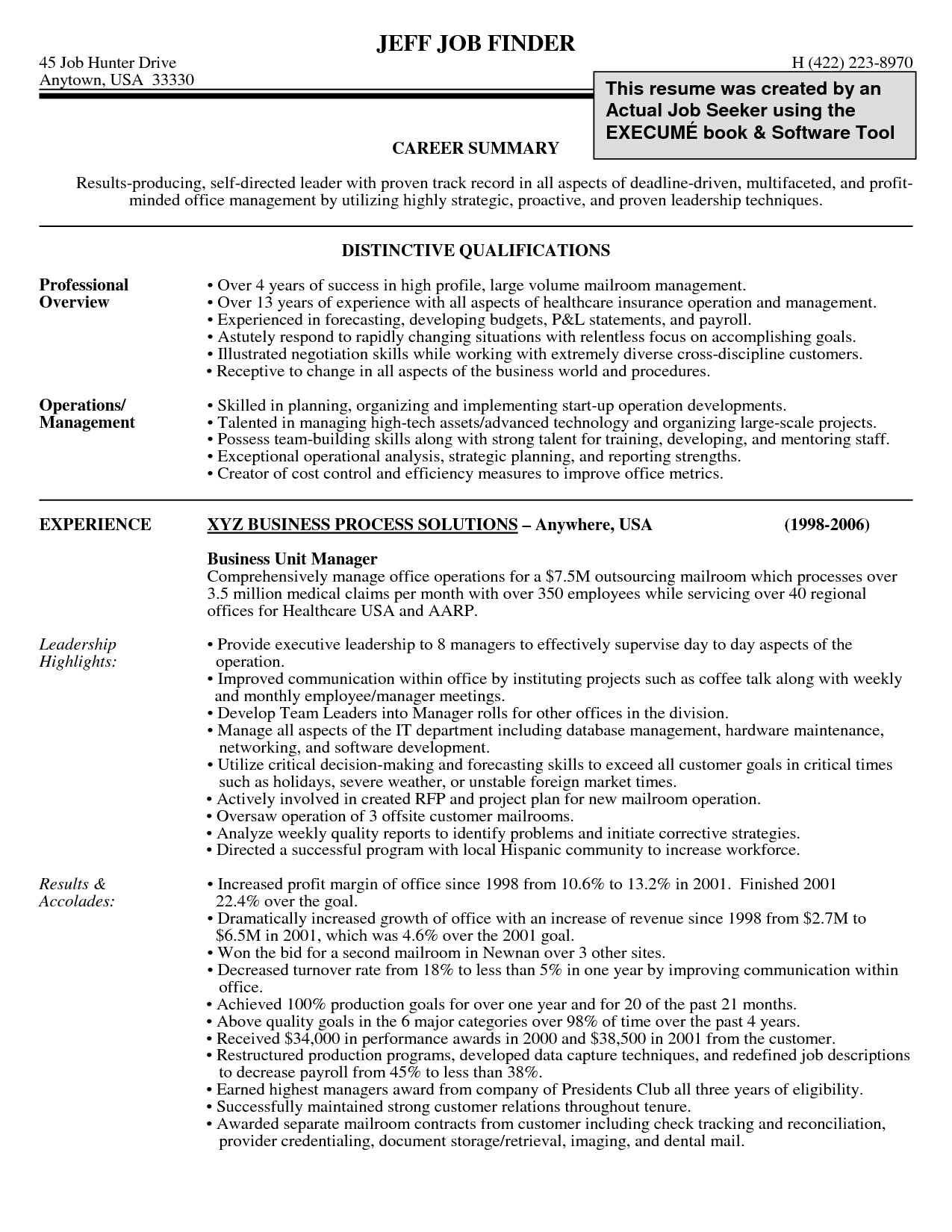 Resume Career Summary Norcrosshistorycenter Within Professional