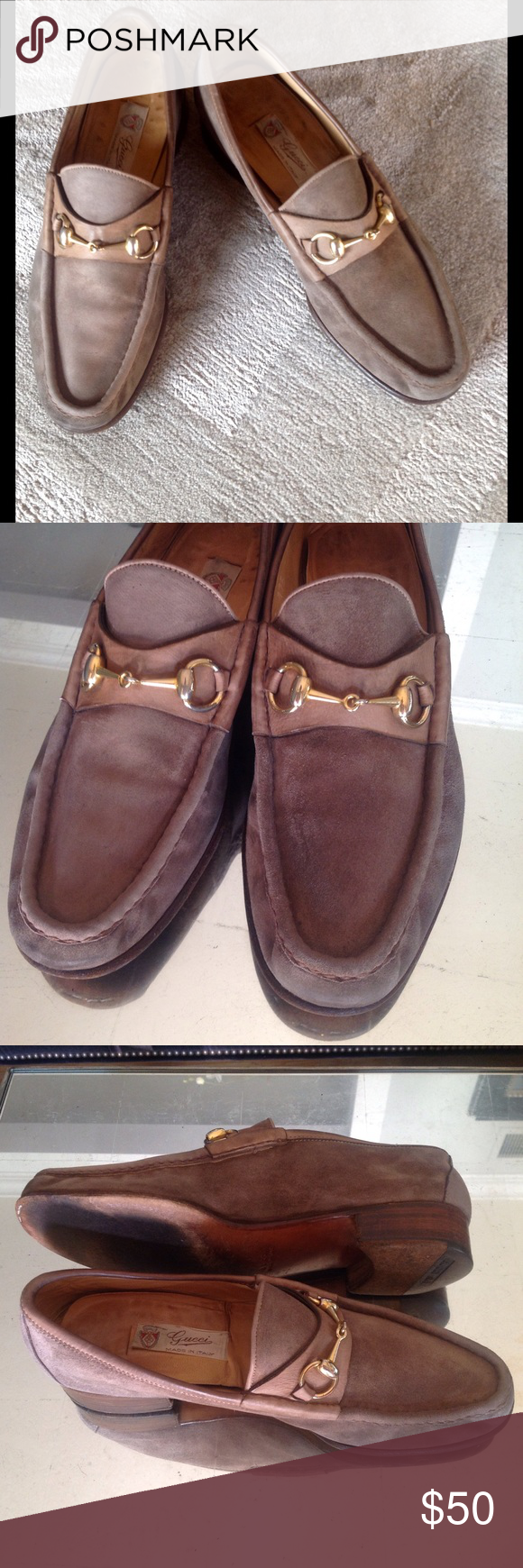 7a1f5002c6a Authentic Gucci Loafers Classic suede loafers with Gucci horsebit detail.  Pre-loved but still have life. Tan suede