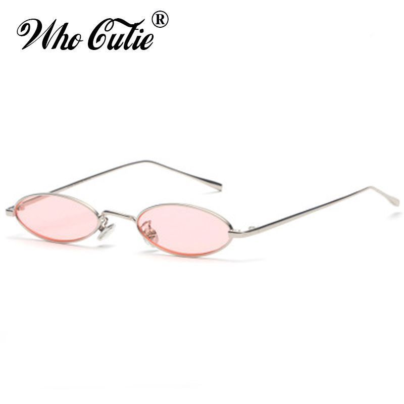 32fb425ab5a2 WHO CUTIE 2018 Small Slim Oval Sunglasses Women Brand Designer Retro Pink  Red Yellow Tint Clear Lens Sun Glasses Shades OM512-in Sunglasses from  Women s ...