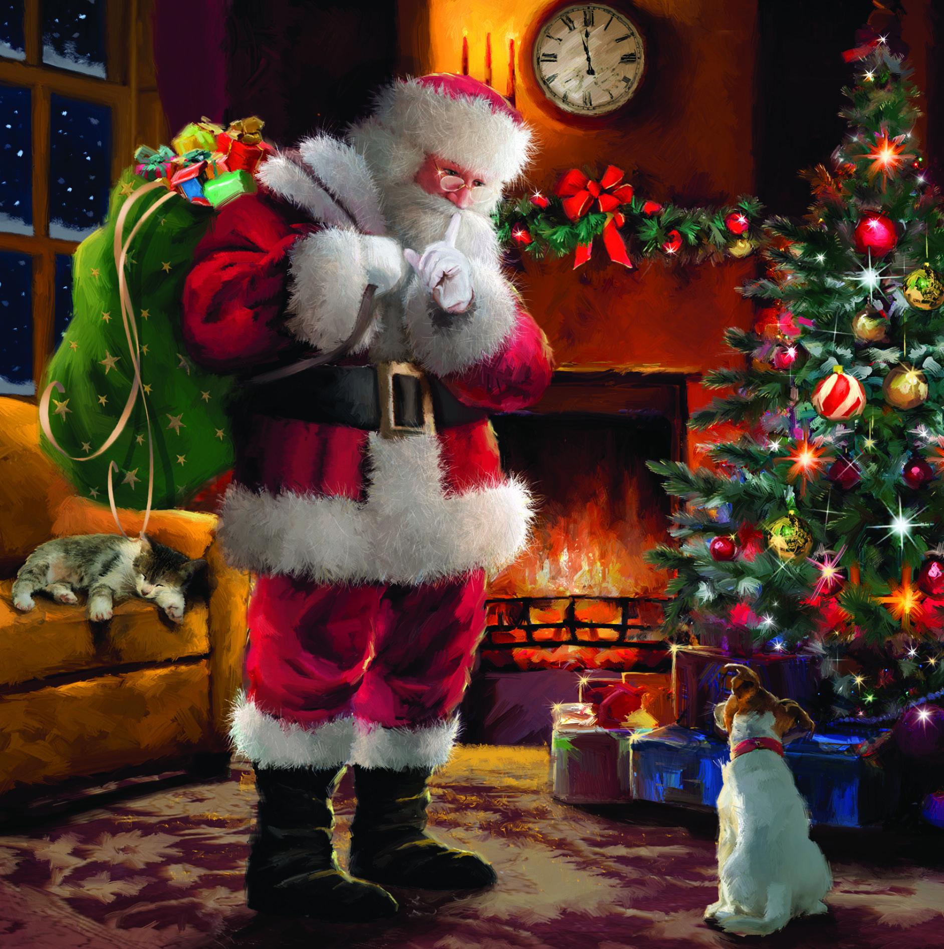 Santa Shushing Charity Christmas Card Traditional