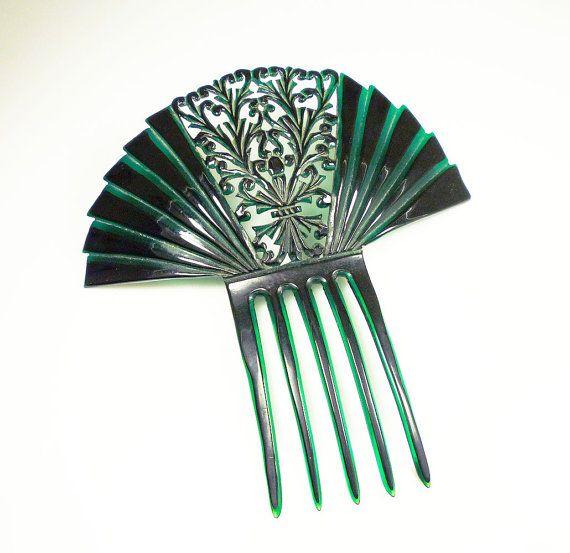 Art Deco Hair Comb Celluloid Spanish Mantilla Emerald Green Black Antique Accessories