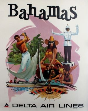Bahamas by Delta Airlines, 1970s - original vintage poster listed on AntikBar.co.uk