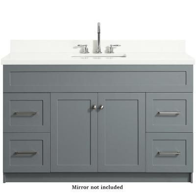 Ariel Hamlet 55 In Bath Vanity In Grey With Quartz Vanity Top In