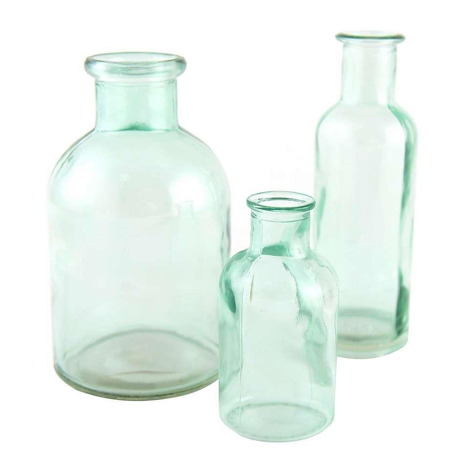 Glass Decorative Bottles Set Of 3 Green Glass Bottles  Dunelm  Living Room  Pinterest