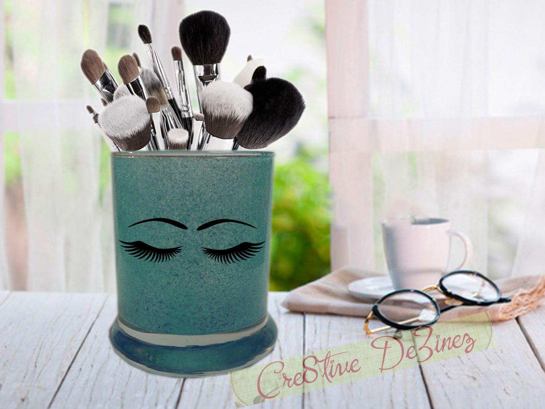 Glitter Makeup Jar, Makeup Brush Holder, Bathroom Storage, Makeup Cup, Makeup Storage, Bathroom Organizer, Desk Organizer, Vanity Storage