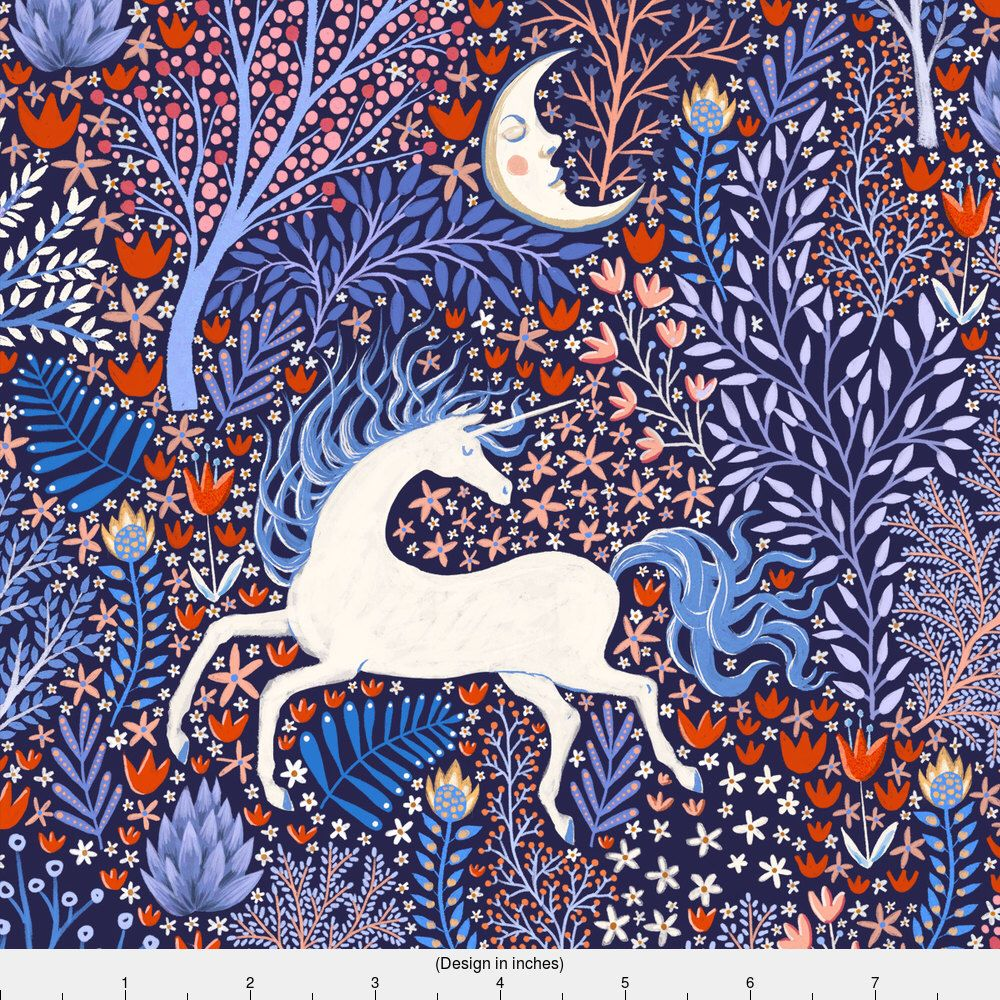 Nocturnal Unicorn Fabric Unicorns In Nocturnal Forest By
