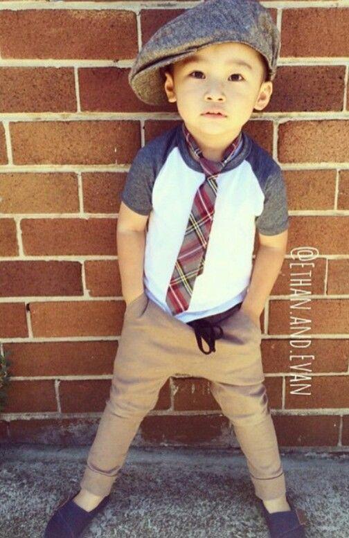 Cute boy with his tie