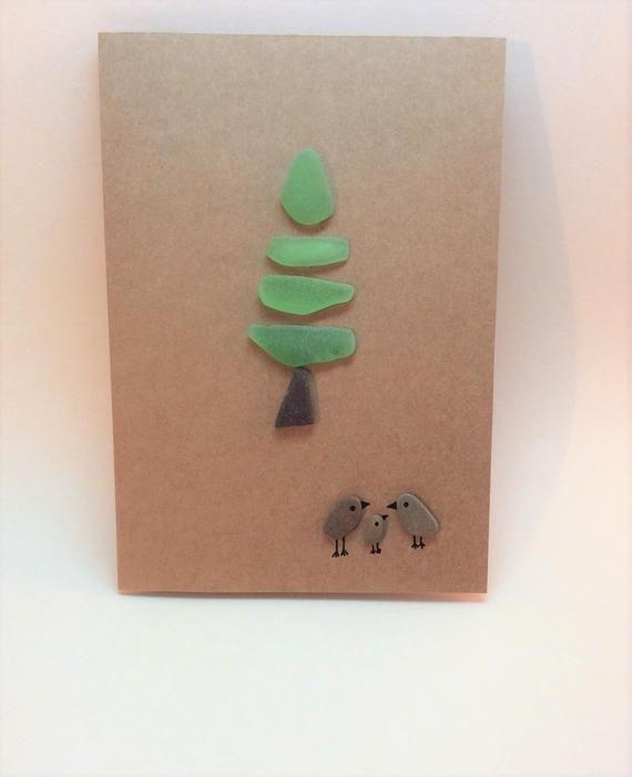 Christmas tree card, family Christmas card, bird art card, blank