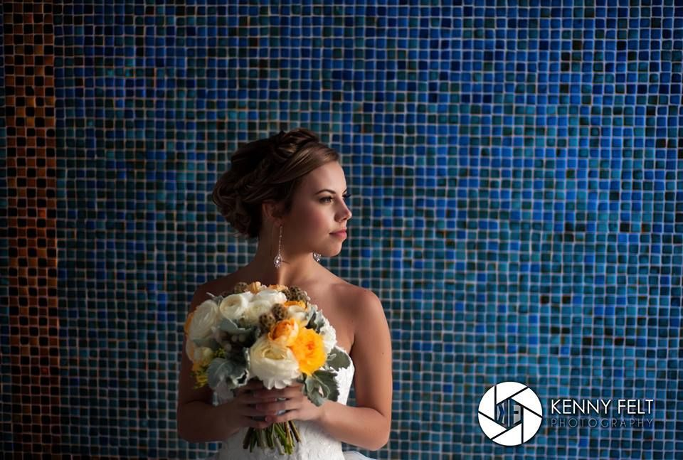 White, yellow and grey bridal bouquet romantic bouquet by KP Event Design Kansas City