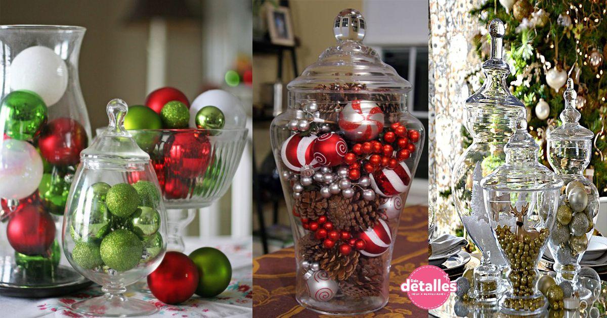 Adornos navideños con recipientes de vidrio Recipientes de vidrio - objetos navideos
