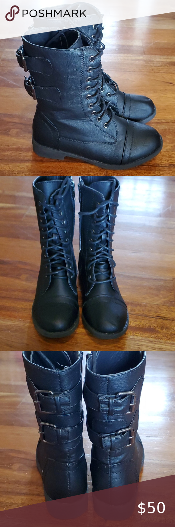 Girls Black Combat Boots size 2 in 2020